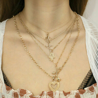 Women Multilayer Pendant Heart Necklace Choker Clavicle Chain Charm Jewelry Rose