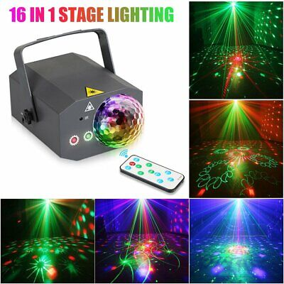 16 in 1 Sound Active Stage LED Light Laser RGB Xmas Club DJ Party Dance Lighting