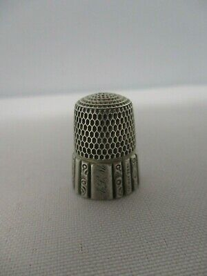 "ANTIQUE 1889 SIMON STERLING SILVER #8 THIMBLE w ENGRAVED MONOGRAM ""ALM"""