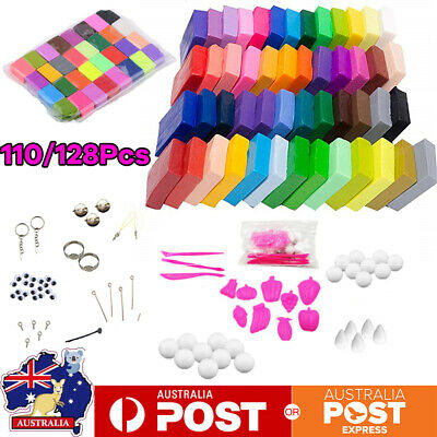 110/128Pcs Colors Craft Polymer Clay Moulding Sculpey Fimo Block DIY Oven Bake