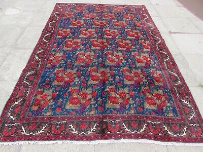 Vintage Hand Made Traditional Rug Oriental Rug Wool Blue Large Carpet 293x192cm