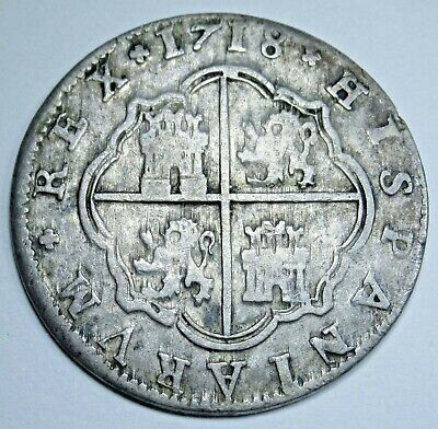 1718 Spanish Silver 2 Reales Colonial Era Antique Two Bits Pirate Treasure Coin
