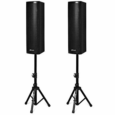 2000W Set of 2 Bi-Amplified Bluetooth Speakers PA Outdoor w/3-Channel & Stands