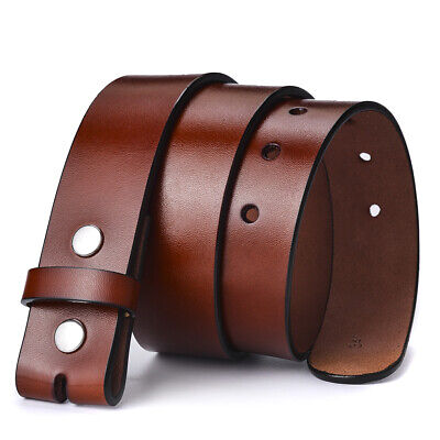 38mm Mens Leather Belt Brown Genuine Leather Strap For Pin Buckle Without Buckle