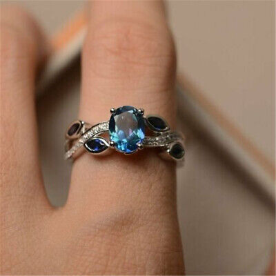 Fashion 925 Silver Wedding Rings Women Laides Aquamarine Jewelry Gift Size 6-10