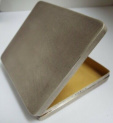 Handsome Heavy English Antique 1965 Sterling Silver & Gilt-Lined Cigarette Case