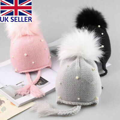 UK Baby Boy&Girls Hat Large Pom Pom Bobble Chin Tie Winter Knitted Warm 1-3Years