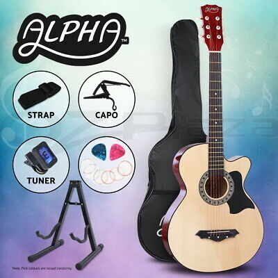"Alpha 38"" Inch Wooden Acoustic Guitar Classical Folk Full Size w/ Bag Capo Tuner"