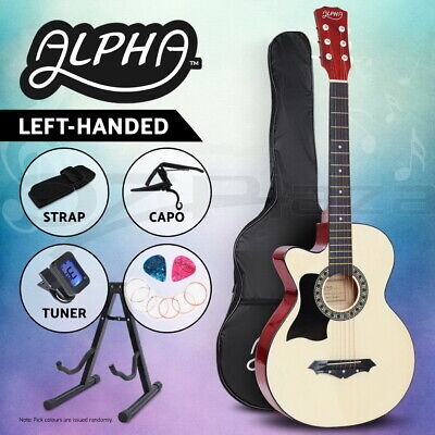 "Alpha 38"" Inch Wooden Acoustic Guitar Left Handed Classical Folk Full Size Capo"
