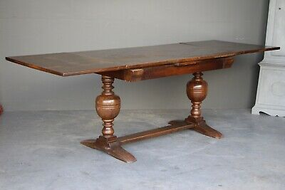 Antique oak refectory table draw leaf extension dining table English Gothic
