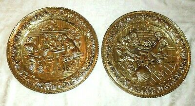 "Vintage Pair Of 16 "" Wide Round BRASS WALL PLAQUES"