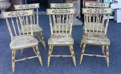 Set 6 19th Century New England Country Primitive Painted Arrow Back Side Chairs
