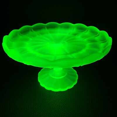 1930s Art Deco Uranium Vaseline Pressed Glass Frosted Wedding Cake Dish Pedestal