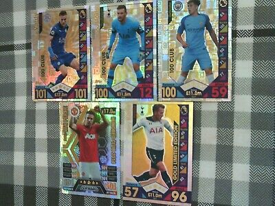 Topps Match Attax 2016/17 Gold Kane Limited Edition + 4 100 Club Cards - Rare
