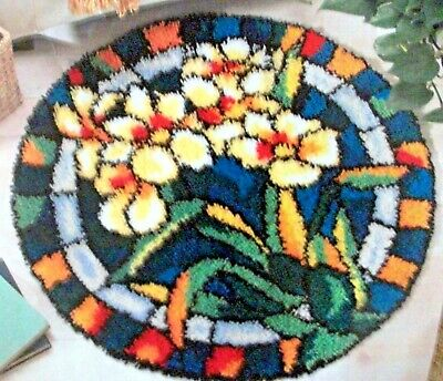 "Craft ways round latch hook rug making kit ""WHITE ORCHIDS STAINED GLASS"""