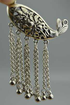 China Collection Handwork miao SIlver Carve Hollow Flower Goldfish Noble Pendant