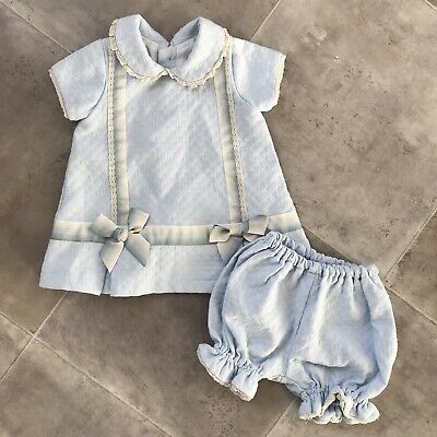 Baby Girls Pretty Originals Spanish Outfit Set 6 Months Blue Top & Jam Pants