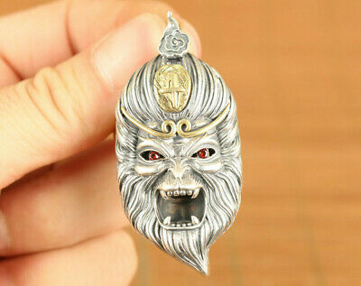 S925 Sterling fine Silver Handmade  two-sided Wukong Buddha Statue Pendant