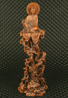 Chinese old boxwood hand carved buddha kwan-yin unique statue