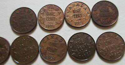 Lot of Canada George V Small Cent Coin. VF/EF/AU 9 Pennies (1920-1936) (LC02)