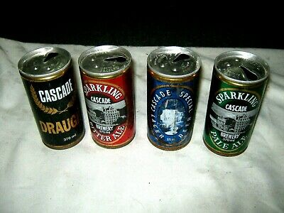 Lot of 4 Old 70's Steel Ribbed Tasmanian Cascade Brewery Empty 370 ml Beer Cans