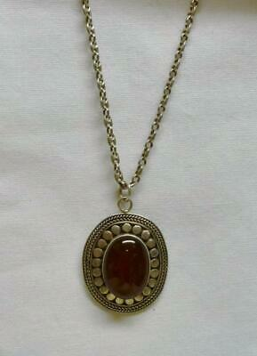 "Lovely Sterling Silver 18"" Long Necklace With An Oval Carnelian Stone Pendant."