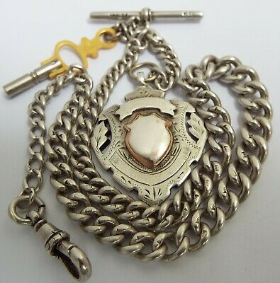 Lovely English Antique Edwardian 1902 Solid Sterling Silver Albert Chain & Medal