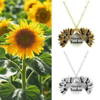 """""""You Are My Sunshine"""" Open Locket Sunflower Pendant Necklace Couple Jewelry Gift"""