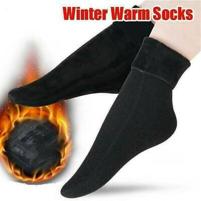 Women's Men Solid Winter Thick Warm Fleece Lined Thermal Stretchy Socks Elastic