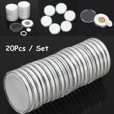 20Pcs Plastic Round Coin Holder Portable Storage Case Boxes Container 5 Size Pad