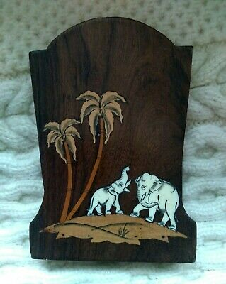 Vintage Art Deco Indian Elephants inlaid bone Marquetry Rosewood Bookends cd dvd