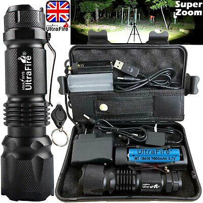 Ultrafire 350000LM Zoomable Tactical T6 LED Flashlight Torch Bike Light Headlamp