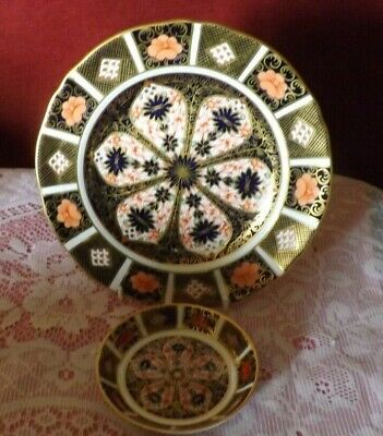 """Royal Crown Derby Imari 1128 2 Piece Mixed Lot Plate 8.5"""""""