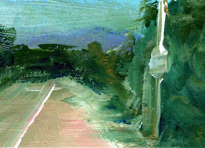 ACEO Landscape Lonesome Road Trees Acrylic Painting Art by Penny Lee StewArt