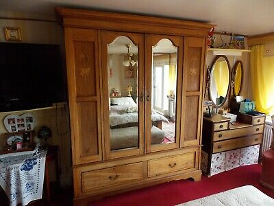 Gorgeous Antique Edwardian Satin Wood Double Wardrobe