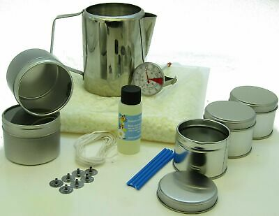 Prosecco Soy Wax candle making kit. 5 tins + 1 free. S. Steel jug & thermometer