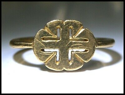 Extremely Fine Anglo-Norman 24 carat Gold finger Ring Cross Moline 'Stephen Dux'