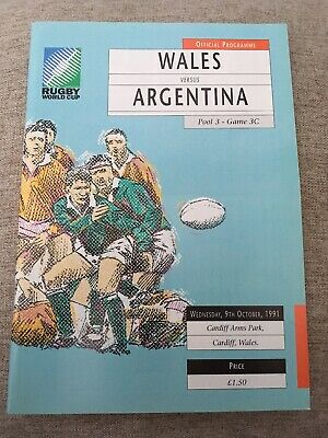 9511 - Rugby World Cup 1991 RWC - Wales v Argentina Programme 09/10/1991
