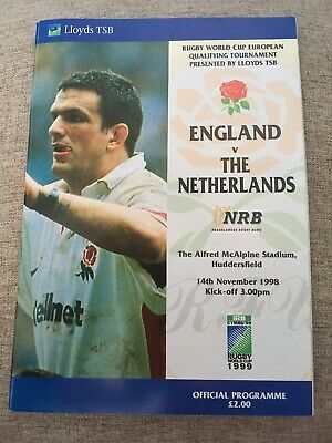 ENGLAND v THE NETHERLANDS 1998 RUGBY PROGRAMME,1999 Rugby World Cup, NRB