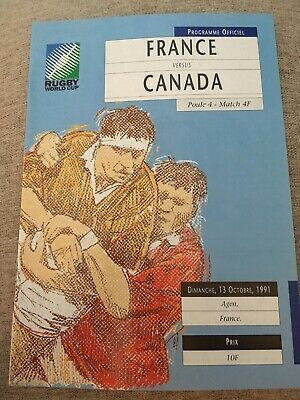 Rugby Union World Cup 1991 France V Canada Programme