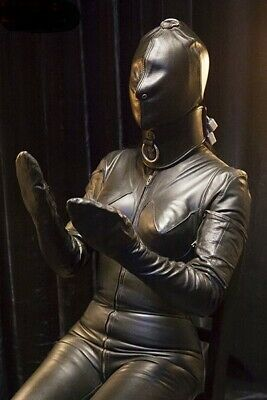 Real Genuine Leather no bondage Roleplay Catsuit Carnival Halloween Hood Gloves