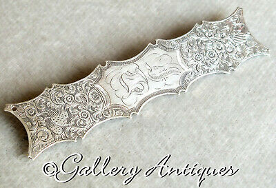 Antique Victorian White Metal floral Chased Long Bar Brooch c.1880s poss silver