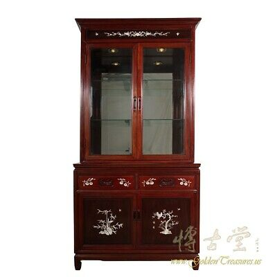 Vintage Chinese Rosewood MOP inlay Display, Curio Cabinet