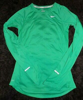 Details about Nike Womens Large Dri fit miler long sleeve t shirt fresh mint green top L