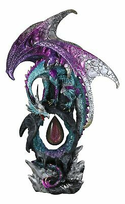 """Large 20""""H Purple Dragon On Teardrop Crystal In Geode Rock Statue With LED Light"""