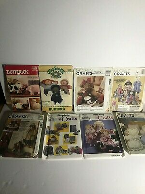 Vintage Mix Lot Of 8 Doll & Sewing Project Patterns With Instructions Uncut