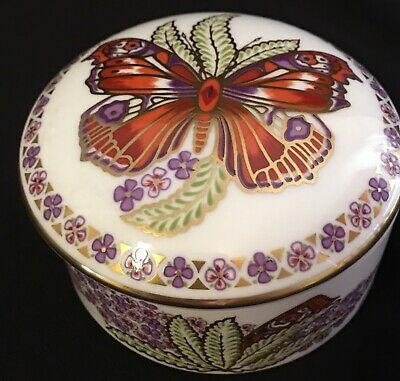 Royal Crown Derby BUTTERFLIES OF THE WORLD Imari Round Trinket Box w/ Lid RARE