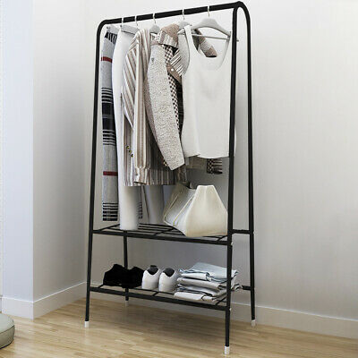 Clothes Storage Rack Clothes Garment Rail Stand Wardrobe Organiser Hanger Shelf