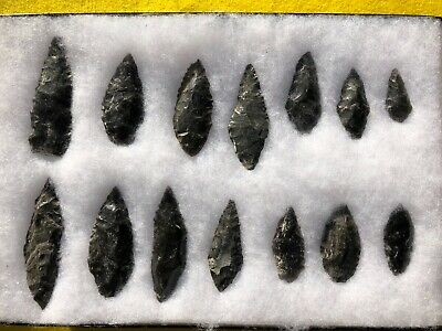 Frame of Obsidian Arrowheads blades and knives Authentic