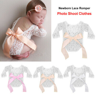 Newborn Big Bow Infant Photo Shoot Clothes Baby Girl Lace Romper Clothing Props